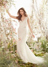 Style JH8409  Ivory Champagne Chantilly lace modified A-line bridal gown, V-neckline, side cascade embroidered detail, chapel train.