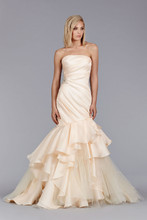Style JH8462  Peach Silk Satin Faced Organza Fit and Flare bridal gown, strapless asymmetrical draped bodice with crystal detail, cascade skirt with tulle accents, chapel train.
