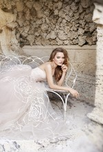 8500 Rose embroidered Nude Tulle bridal ball gown, strapless neckline, natural waist with ribbon detail, sweep train.