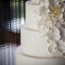 "AP Signature Cakes Collection ""Windswept"" Textured fondant tier with oversized sugar bloom and cascading petals."