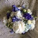 130x130 sq 1416540792199 white peonies roses and blue delphinium