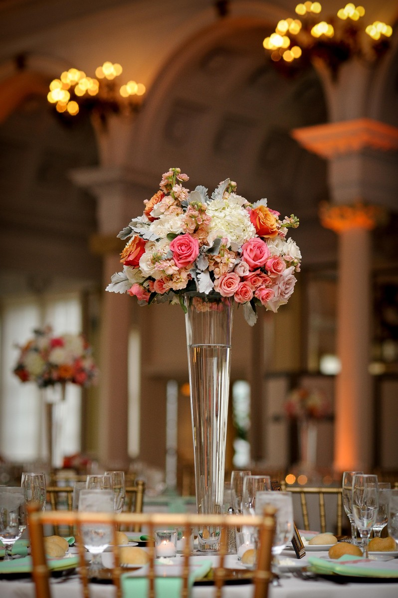 Pink white centerpiece centerpieces greenery historic site