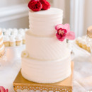 Each one was placed atop gold stands dripping with crystals.   Cake: Ashley Bakery