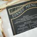 Menu cards matched the invitation suite.   Venue: Hotel Monaco  Invitations: The Dandelion Patch