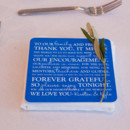 Menu cards also served double-duty as a thank you note.   Venue/Caterer: Belle Mer
