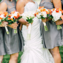 Each one carried a bouquet of calla lilies and hydrangeas.  Dress Designer:Maggie SotterofromRK Bridal  Bridesmaid Dresses:Vera Wang from David's Bridal  Floral Designer:Flowers by Bernard