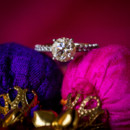 Aanchal's engagement ring featured a round-cut solitaire diamond.   Venue: Horseshoe Bay Resort Yacht Club