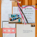 We love the geometric detailing on this invitation suite — designed by the bride herself!  Ceremony Venue:Mural Room at The Santa Barbara Courthouse  Reception Venue:Canary Hotel