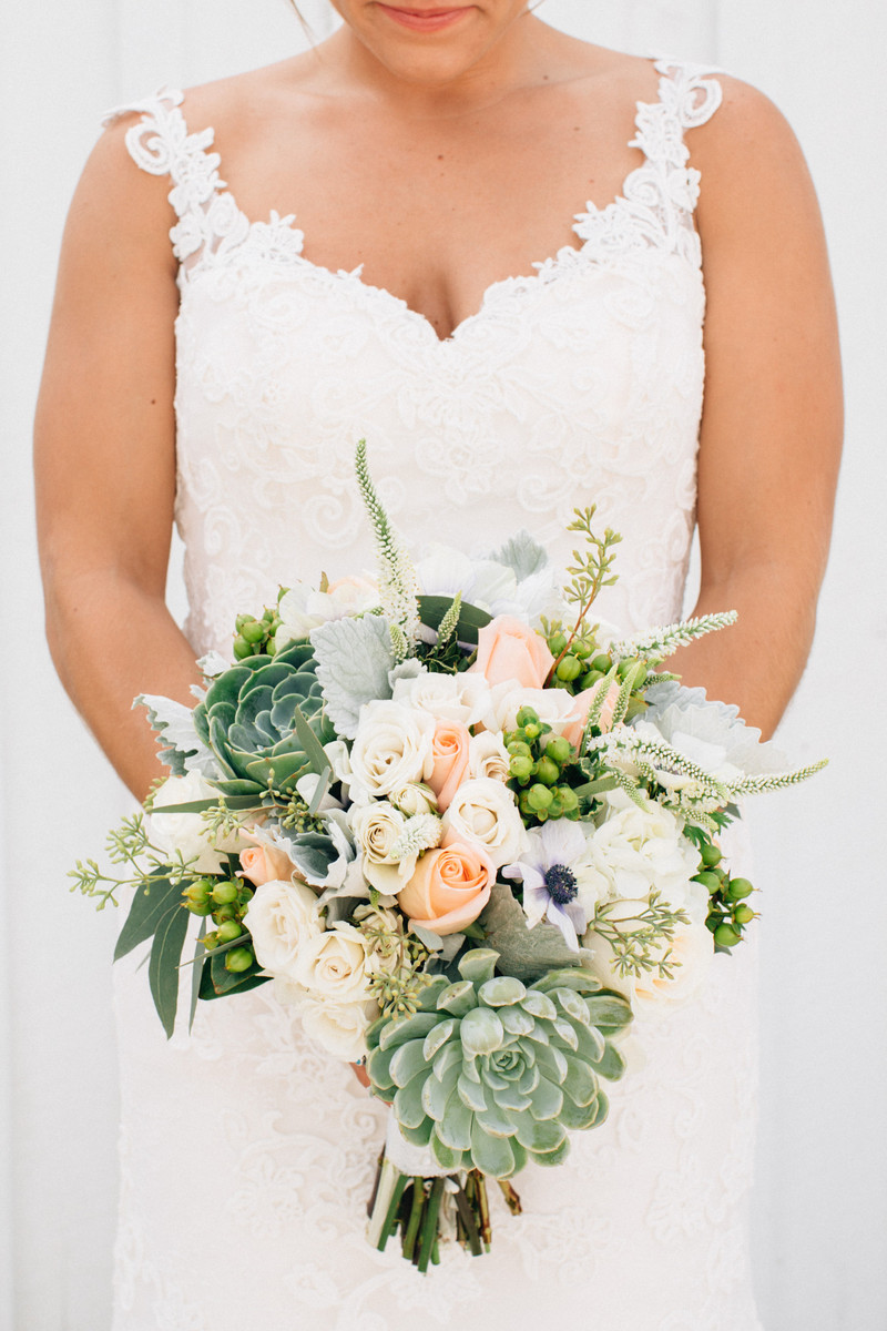 Green Pink White Bouquet Greenery Hydrangea Indiana Ranunculus Rose ...
