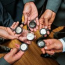 The groom and his men all wore matching pocket watches.