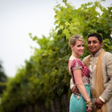 "<strong class='info-row'>Hopkins Studios</strong> <div class='info-row description'><html>  <head></head>  <body>    They posed for portraits amongst the vivacious vines.   Dress Designer: Custom-made in India   Hair Stylist:    <a href=""http://www.weddingwire.com/biz/tdr-artistry-woodbridge/ff8c0a5408423236.html?utm_source=ww&utm_medium=photo-gallery&utm_campaign=real-weddings"" target=""_blank"">TDR Artistry</a>  Makeup Artist: Daniela Shuffler    </body> </html></div>"