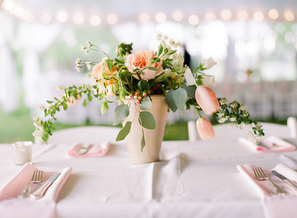 Romantic green ivory pink white centerpiece centerpieces