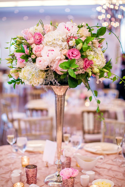 Classic Formal Romantic Green Ivory Pink Silver White Centerpiece ...