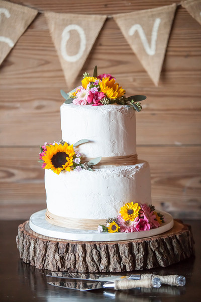 Two Tier Wedding Cakes Rustic Sunflower
