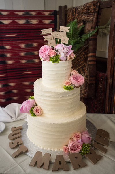 Romantic vintage brown green ivory pink white buttercream country a three tier buttercream cake decorated with pink blooms and kraft flag toppers venue mightylinksfo