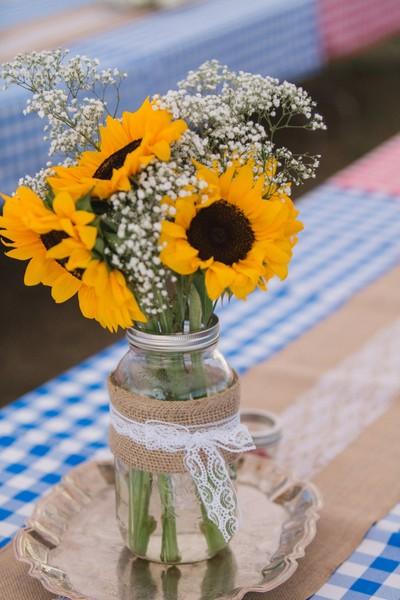 Yellow Centerpiece Centerpieces Outdoor Reception Summer Washington