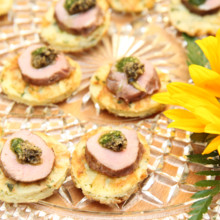 220x220 sq 1443674712548 fire grilled lamb on potato cakes with pesto and t