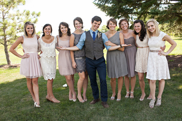 The Groom Who Wore Navy Dress Pants A Chambray Button Down And Charcoal