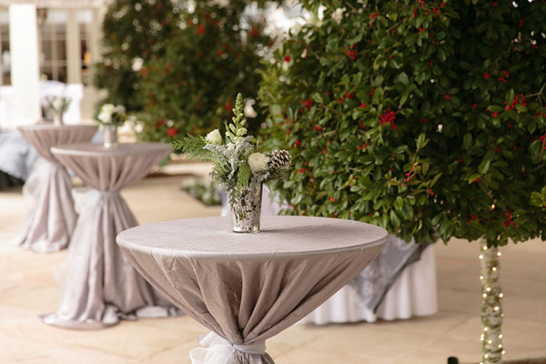 High Top Cocktail Tables Were Cloaked In Luxe Pewter Linens And Topped With Silver Mercury