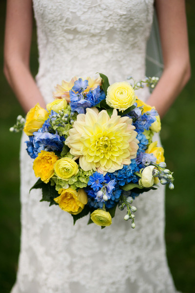 Classic Rustic Blue Yellow Bouquet Dahlia Delphinium Fall Historic ...