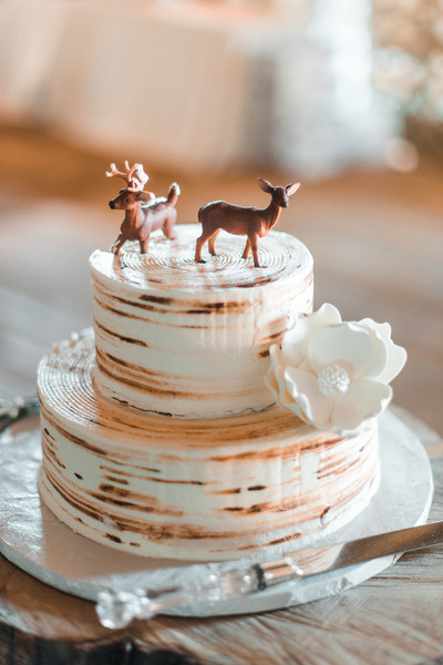 The Two Tier Cake Was Topped With Miniature Deer Figurines Venue Horizon View