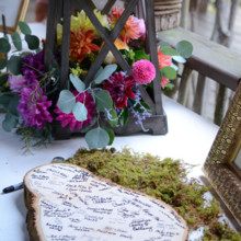 """<strong class='info-row'>Thirteenth Moon Photography LLC</strong> <div class='info-row description'><html>  <head></head>  <body>    Guests signed their names on a wooden slice.  Reception Venue:   <a href=""""http://www.weddingwire.com/reviews/the-village-green-cashiers/4b707e7bc0582709.html"""" target=""""_blank"""">The Village Green</a>  Floral Designer: Earth Blooms Flower Farm     </body> </html></div>"""