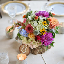 "<strong class='info-row'>Thirteenth Moon Photography LLC</strong> <div class='info-row description'><html>  <head></head>  <body>    Wildflower-inspired centerpieces included delphinium, dahlias, poppy pods, black-eyed Susans, snapdragons, zinnias, roses, and hydrangeas.   Reception Venue:    <a href=""http://www.weddingwire.com/reviews/the-village-green-cashiers/4b707e7bc0582709.html"" target=""_blank"">The Village Green</a>  Floral Designer: Earth Blooms Flower Farm       </body> </html></div>"