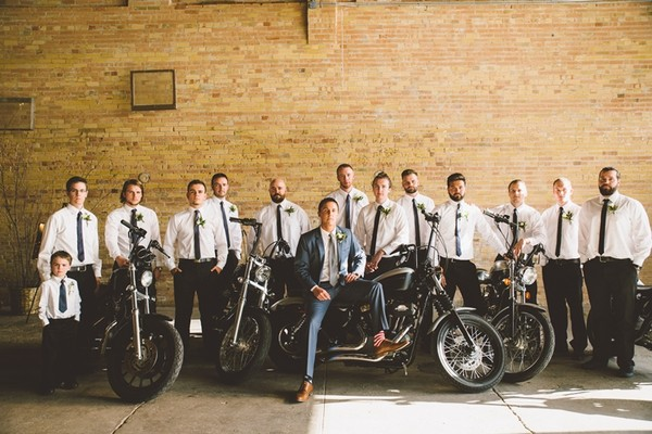 Harley Davidson Motorcycles Were On Display As Decor Thanks To The Groomsmen Reception Venue