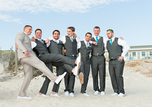 Michaels Groomsmen Looked Handsome In Dark Gray Vested Suits And Colorful Neck Ties The Groom