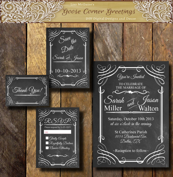 Chalkboard Wedding Invitation Suite Any Color Digital File Or Printed  Rustic Old West Country Invitation