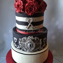 220x220 sq 1477673993585 retro black red and white cake