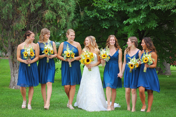 Bridesmaids Were Dressed In Blue Mix And Match Dresses Venue The Barn