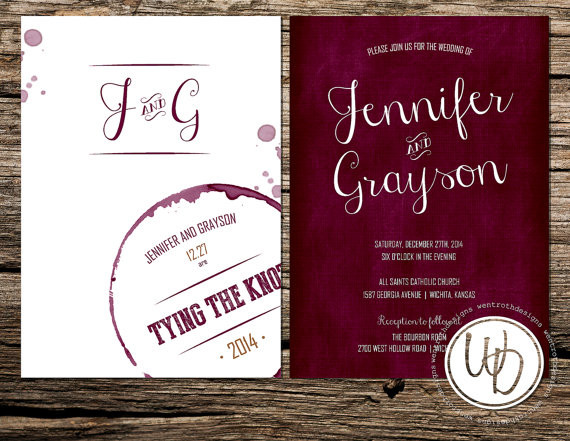 Modern Rustic Burgundy Red White Barn City Country Club Country – Modern Rustic Wedding Invitations