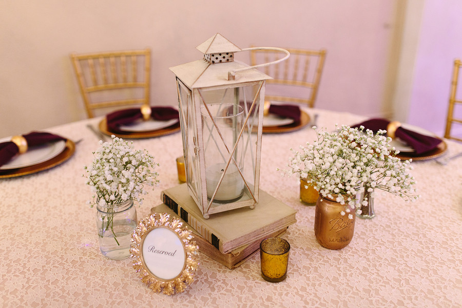 Shabby chic vintage gold ivory white arizona centerpiece
