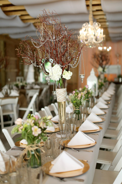 Indoor Reception Tablescape West Virginia Wedding Flowers Photos