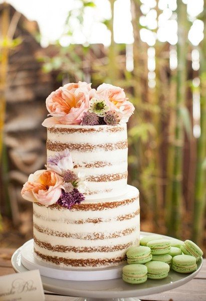 After Dinner Concluded They Served A Two Tiered Naked Cake Adorned With Flowers And