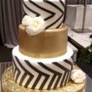 130x130 sq 1460579476011 wedding cake   fondant   gold black white2