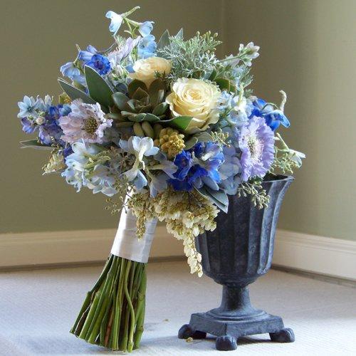 Bridal Bouquet With Dark Blue And Light Blue Delphinium Blue Scabiosa