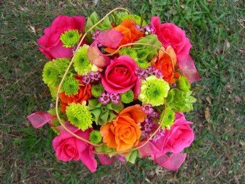 Green Orange Pink Yellow Bouquet Wedding Flowers Photos