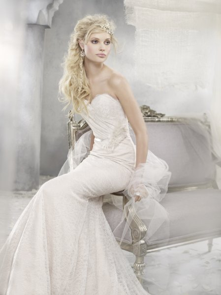 Wedding Dresses For Over 55 : Styleav ivory over champagne chantilly lace soft fluted bridal
