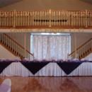 130x130 sq 1389842659880 purple satin head table overlay