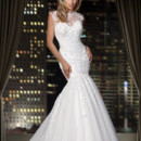 90166  <br /> This stunning fit and flare gown featuring illusion lace sweetheart neckline and dramatic keyhole back.