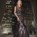 90160  <br /> FIT AND FLARE LACE GOWN WITH A STRETCH NET ILLUSION NECKLINE COMPLETE WITH GROSS GRAIN RIBBON ALONG THE WAIST
