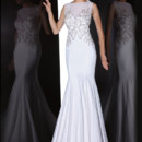 90200  THIS VINTAGE INSPIRED SHEATH GOWN FEATURES STUNNING CRYSTAL BEADING COMPLETE WITH AN ILLUSION BATEAU NECKLINE