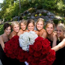 220x220 sq 1478805958579 bride and bridesmaids with red rose bouquets