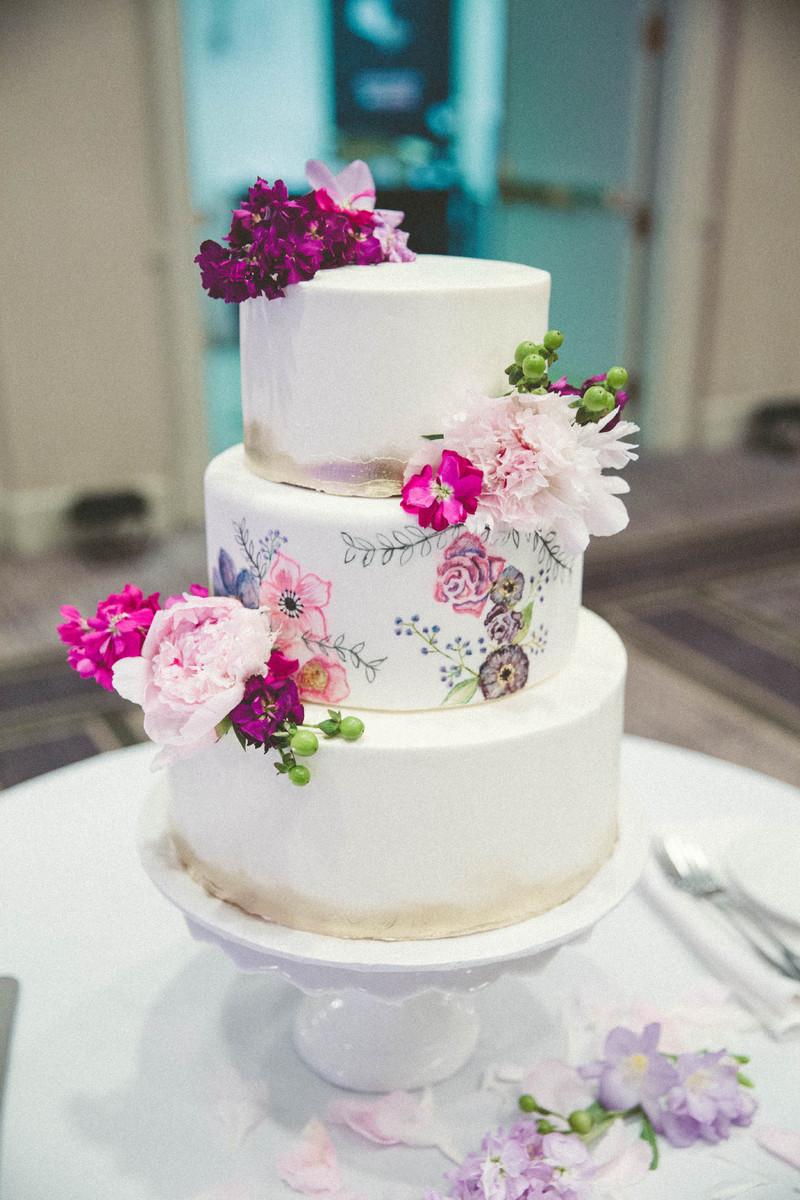 Classic Flowers Fondant Ohio Round Wedding Cake Wedding Cakes Photos ...