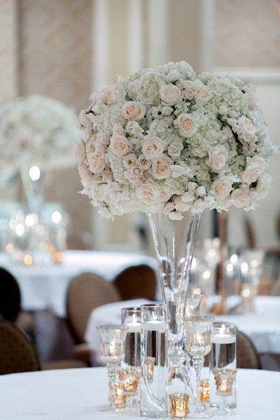 Classic hollywood glam ivory pink ballroom centerpiece