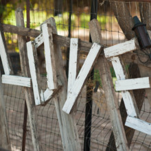 "<strong class='info-row'>lisa d. Photography</strong> <div class='info-row description'><html>  <head></head>  <body>    A wooden ""LOVE"" sign was used as decor during the ceremony.   Venue:   <a href=""https://www.weddingwire.com/reviews/whispering-tree-ranch/538664c81ed617fd.html"" target=""_blank""> Whispering Tree Ranch </a>      </body> </html></div>"