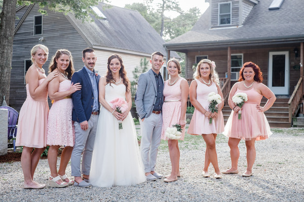 Kims Bridesmaids Looked Fabulous In Knee Length Pink Dresses Venue Private Residence Brides
