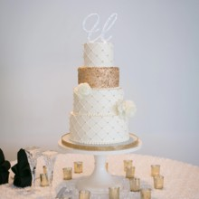 """<strong class='info-row'>Pond Photography</strong> <div class='info-row description'><html>  <head></head>  <body>    The glamorous four tier cake featured a gold tier, white blooms, and a laser-cut topper.     <span class=""""s1"""">Reception Venue: <a href=""""https://www.weddingwire.com/biz/the-brass-on-baltimore-kansas-city/38e651de12a08110.html""""><span class=""""s2"""">Brass on Baltimore</span></a></span>     <span class=""""s1"""">Event Planner: <a href=""""https://www.weddingwire.com/biz/madison-sanders-events-liberty/bfd7956686c7ed3d.html""""><span class=""""s2"""">Madison Sanders Events</span></a></span>  Cake: Classic Cakes KC   </body> </html></div>"""